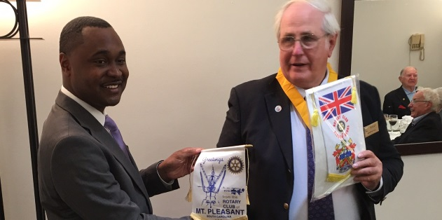 Rotarian William visits Slough from Mt Pleasant USA